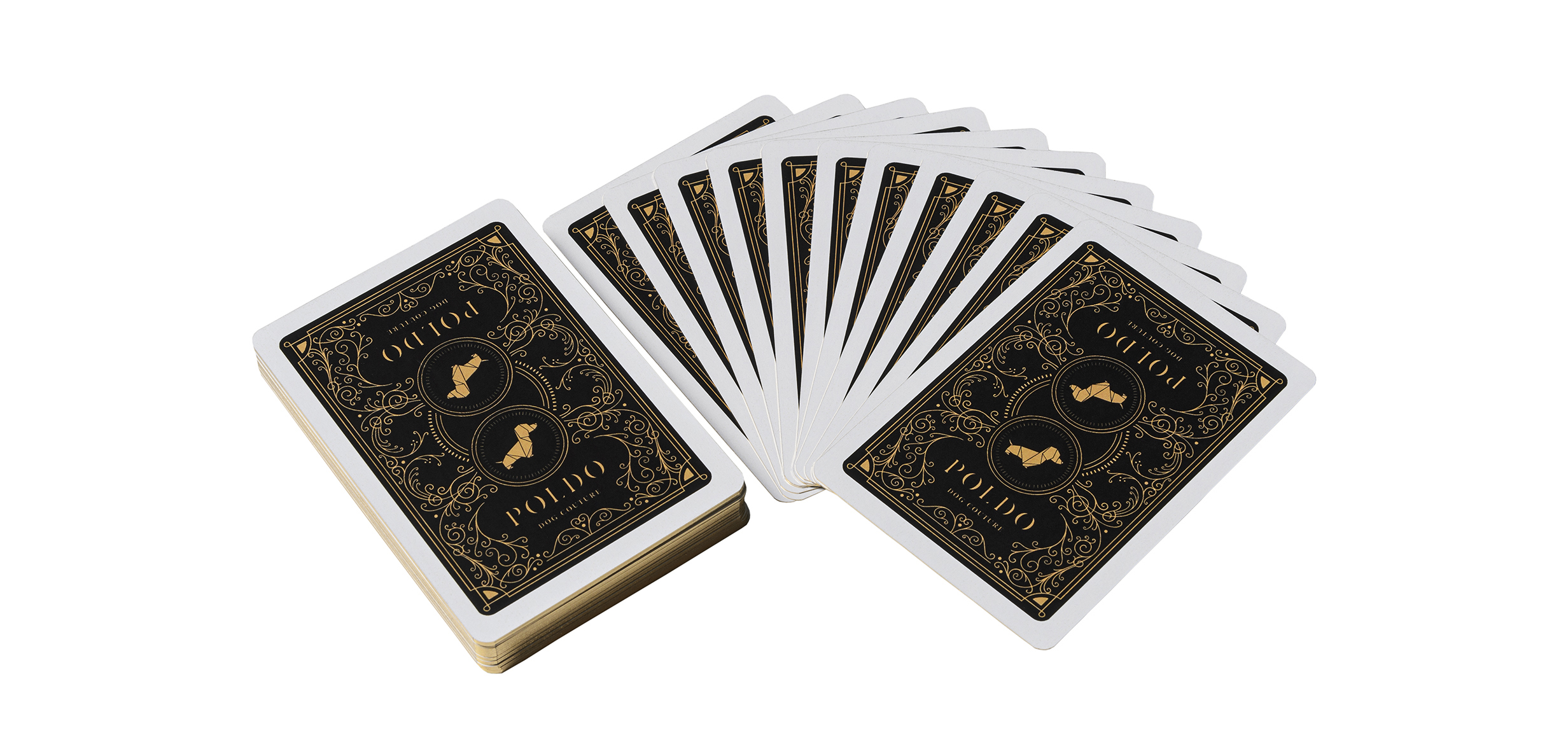 poldo dog couture playing cards black deck